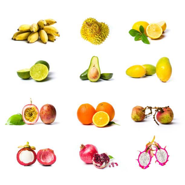 tropische früchte-collage isoliert auf weiss - kaktusfrucht stock-fotos und bilder