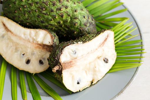 Tropical fruit Guanabana on plate