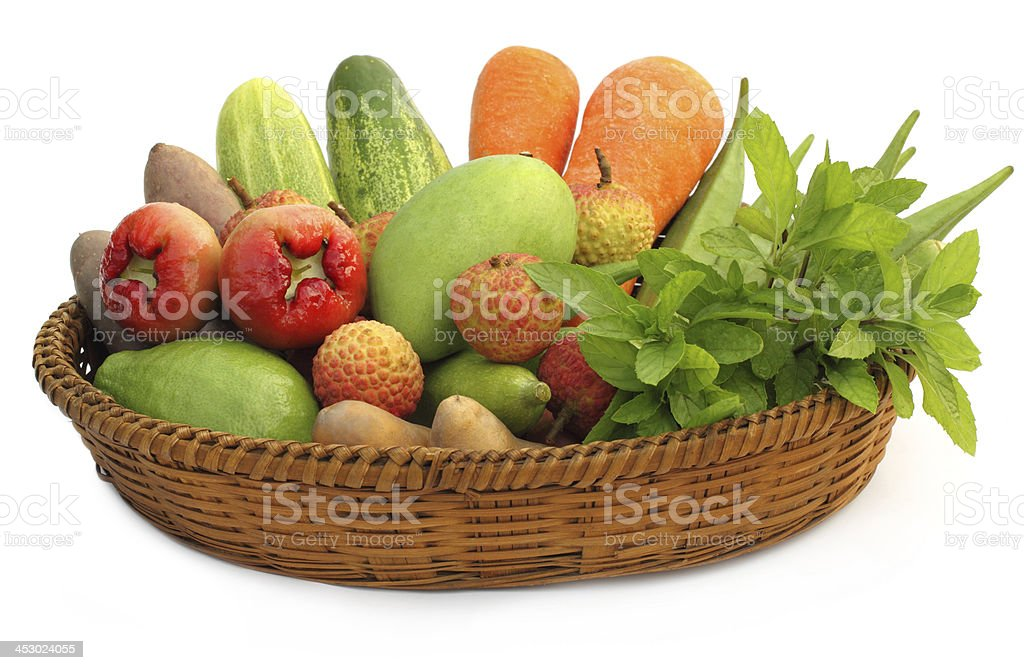 Tropical fruits and vegetables royalty-free stock photo