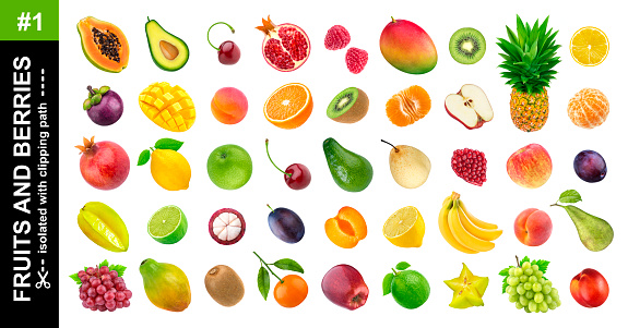 Tropical fruits. Collection of different exotic fruits and berries isolated on white background, pineapple, orange, apple, grape, avocado, mango, pear