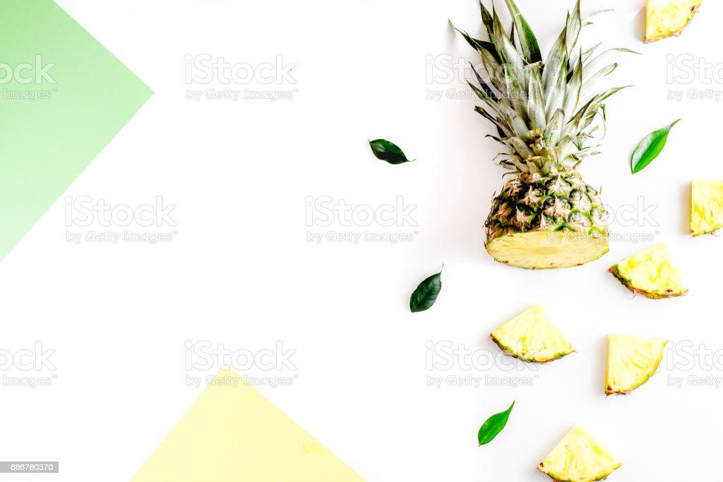 tropical fruits for summer design on white background top view mock-up stock photo
