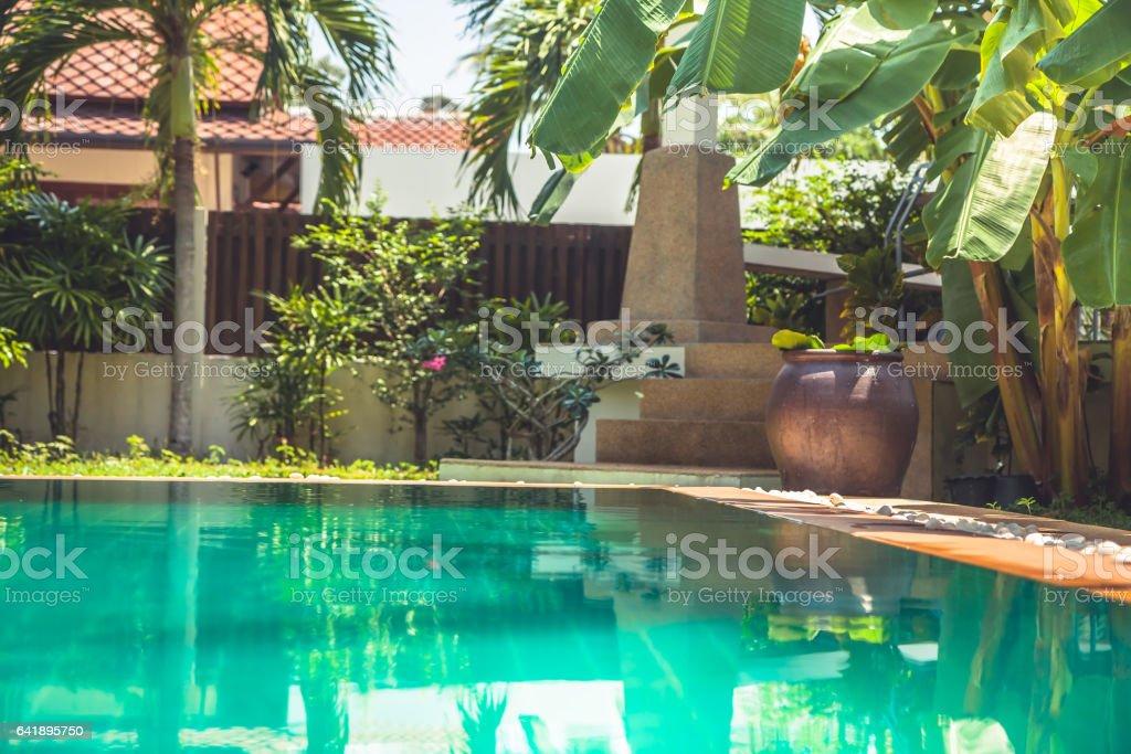Tropische tuin in moderne villa met zwembad onder de palmbomen en