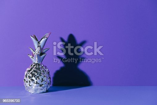 Tropical Golden Pineapple On Ultraviolet Background Stock Photo & More Pictures of Abstract