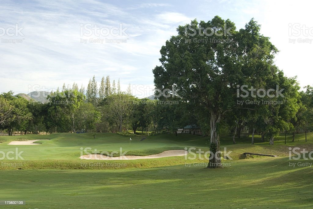 Tropical golf course in Thailand stock photo