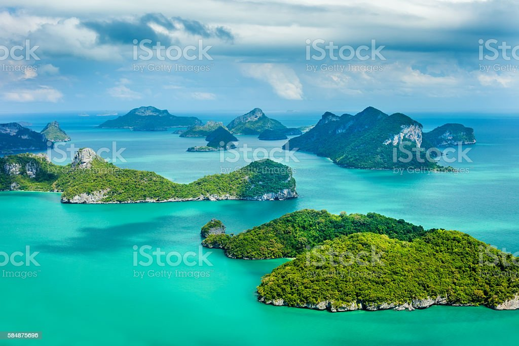 Tropical group of islands in Ang Thong National Marine Park stock photo
