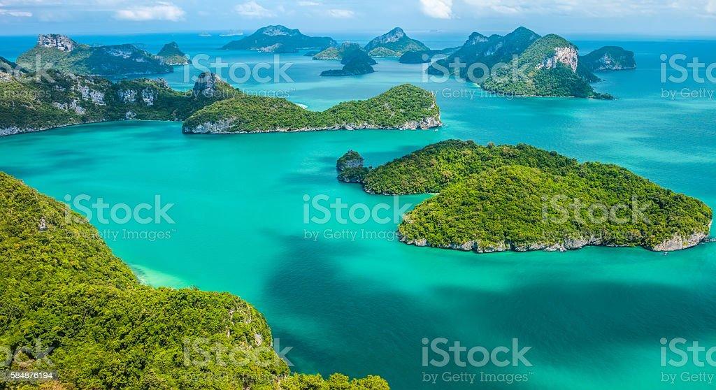 Tropical group of islands in Ang Thong National Marine Park stok fotoğrafı