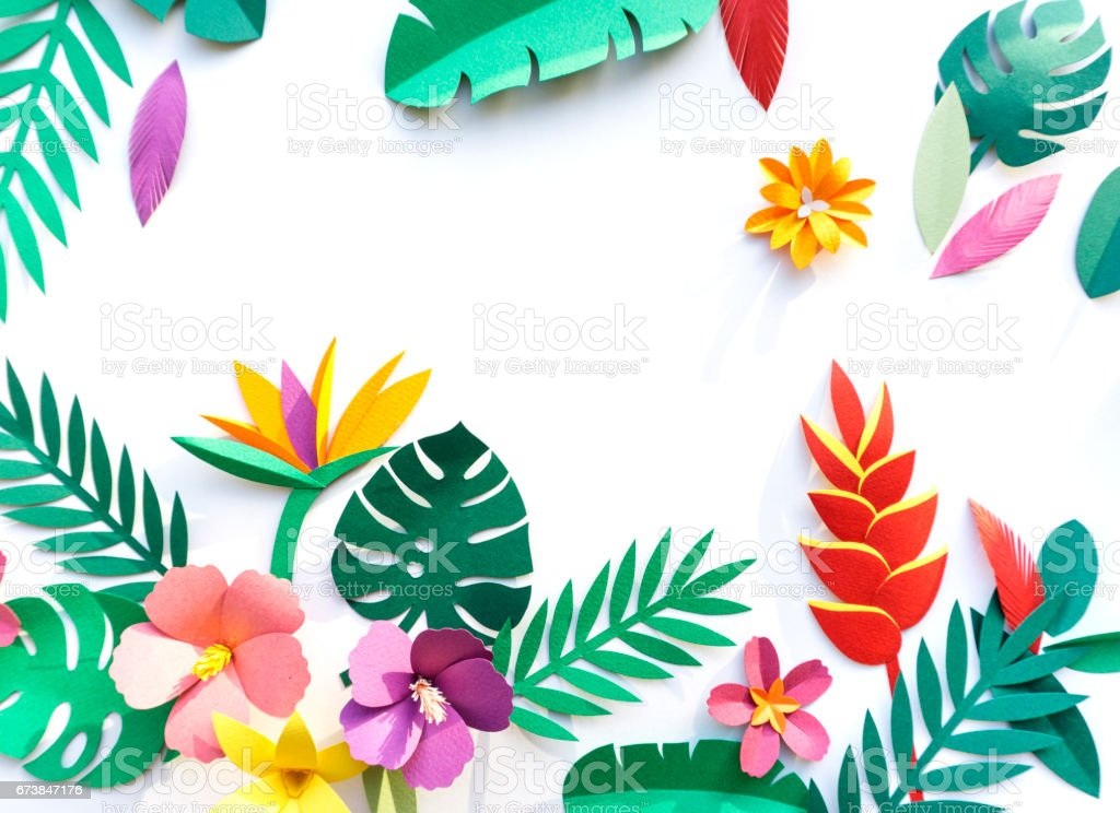 Tropical Handcrafted Papercraft Nature Petals stock photo