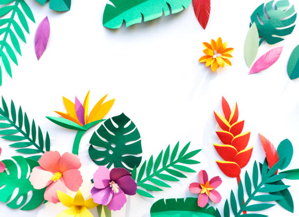 Tropical Handcrafted Papercraft Nature Petals - foto de acervo