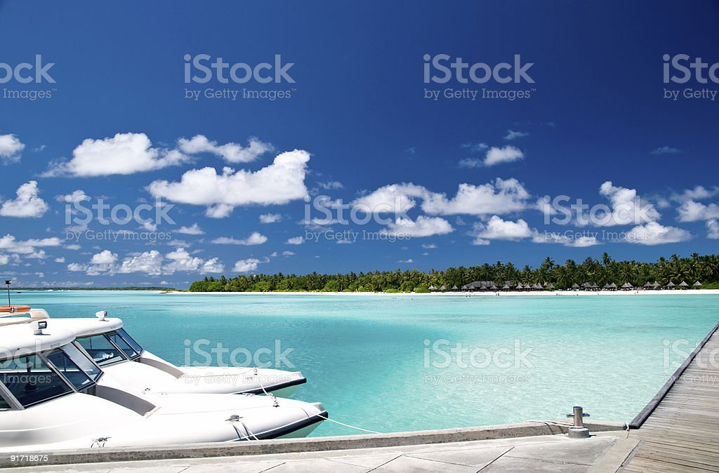 Tropical harbour royalty-free stock photo