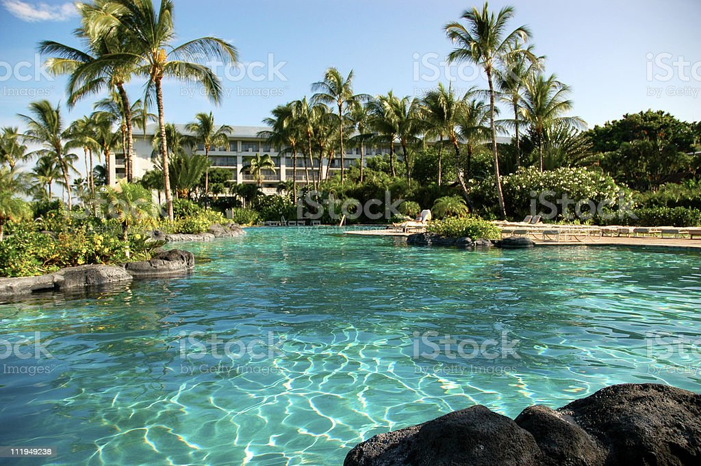 Tropical Hotel Resort Swimming Pool Hawaii royalty-free stock photo