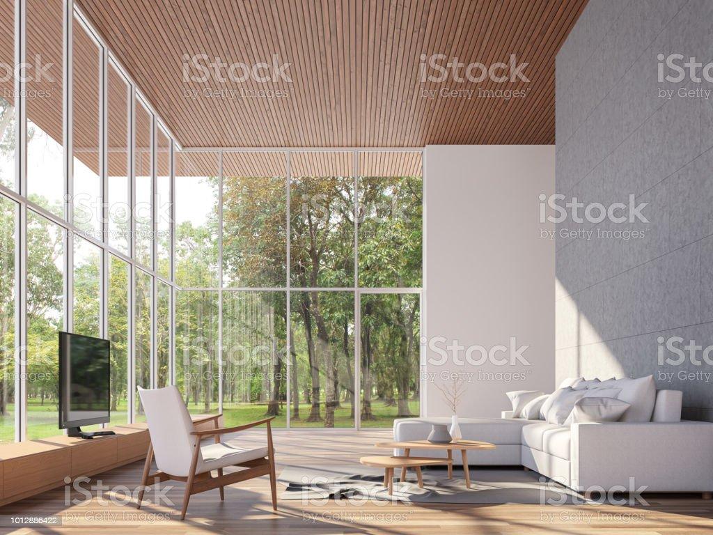 Rendu 3d de la maison tropicale salon - Photo de A la mode libre de droits