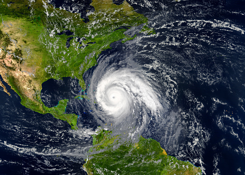 tropical hurricane approaching the USA.Elements of this image are furnished by NASA.