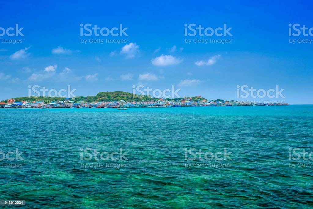 Tropical Island And Fishing Port Royalty Free Stock Photo
