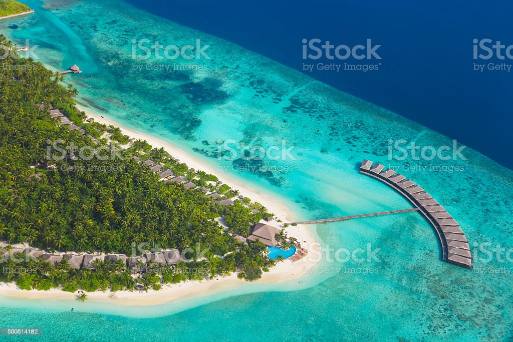 Tropical island at Maldives stock photo