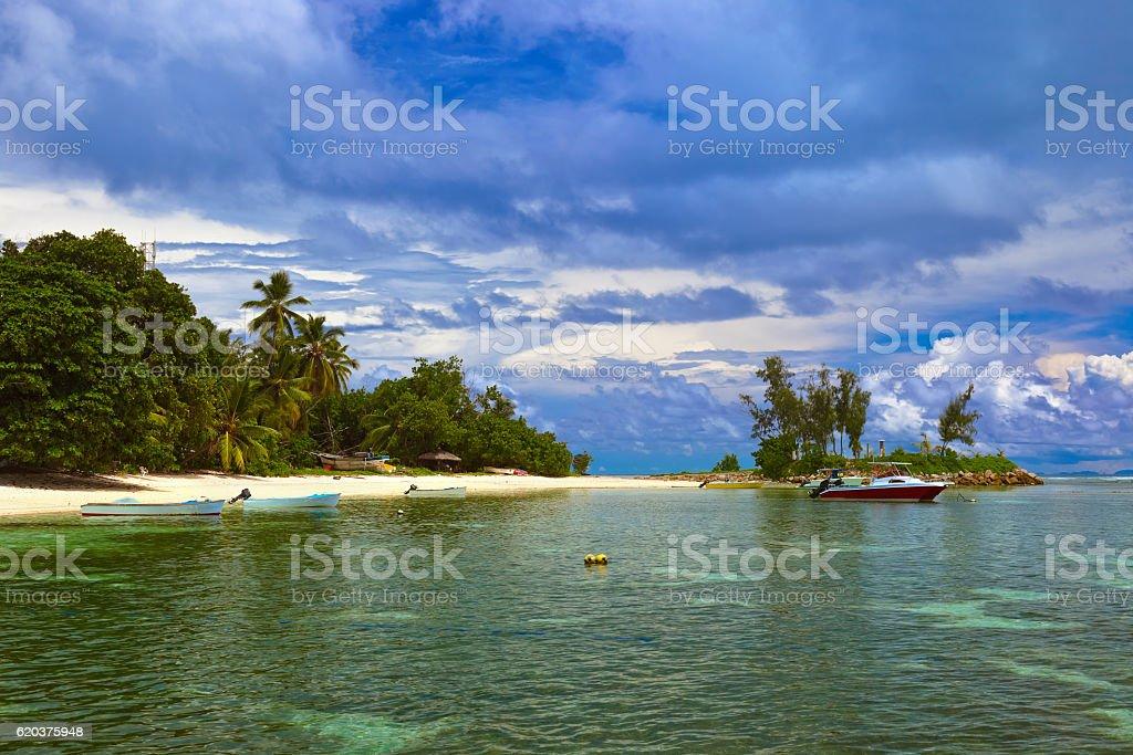Tropikalna Wyspa na Seszele i łodzie zbiór zdjęć royalty-free
