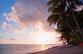 Tropical Island at Sunset - Rarotonga, Cook Islands, Polynesia