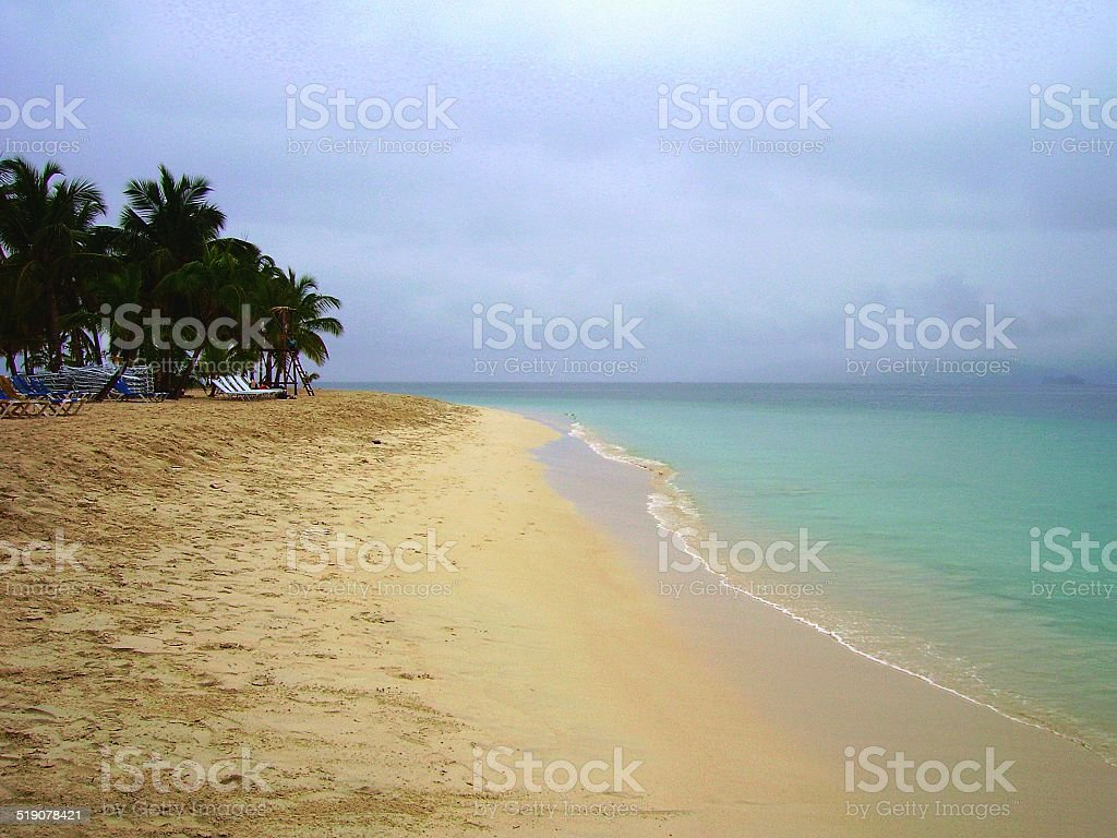 Tropical island beach Cayo Levantado stock photo