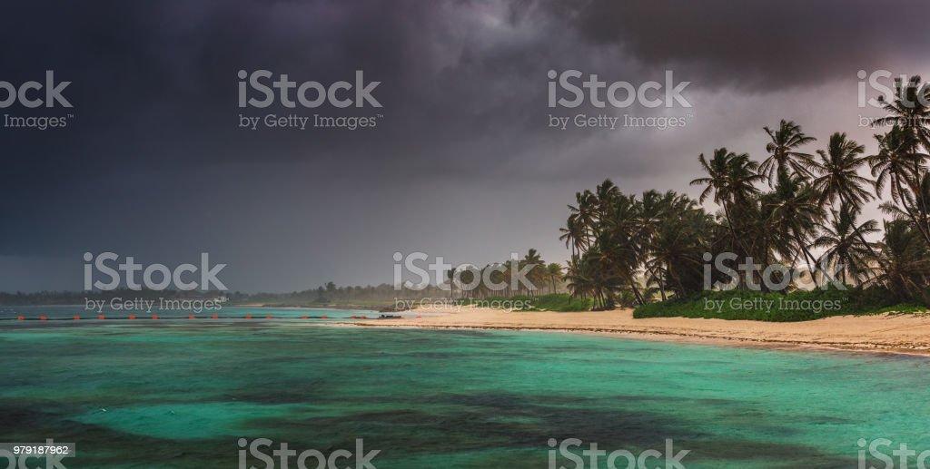 Tropical island beach in Punta Cana, Dominican Republic stock photo