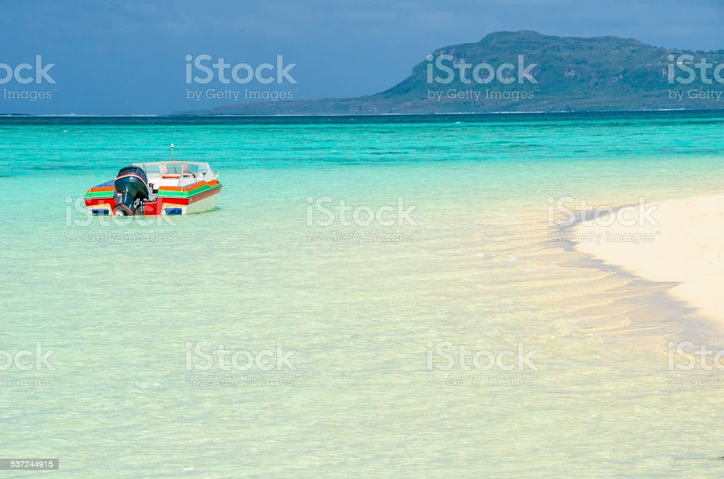Tropical Island Boat stock photo