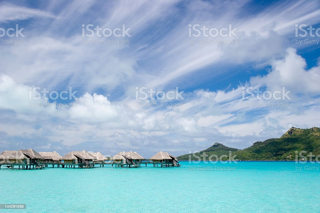 Tropical Island Bungalows royalty-free stock photo