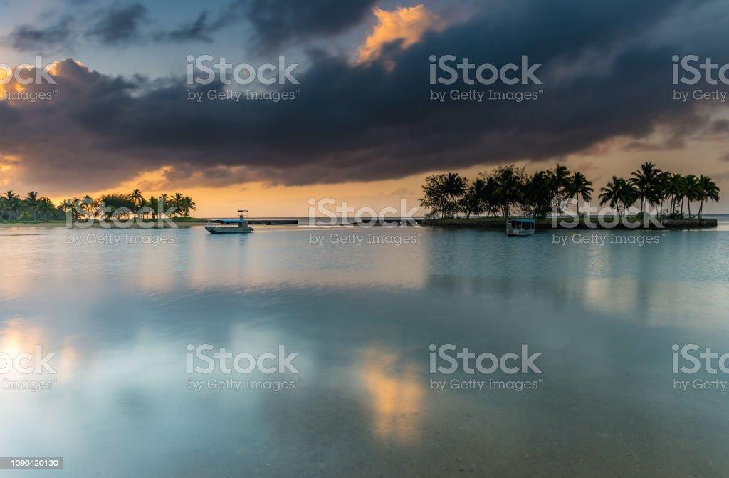 Tropical Island Holiday Sunrise Seascape stock photo
