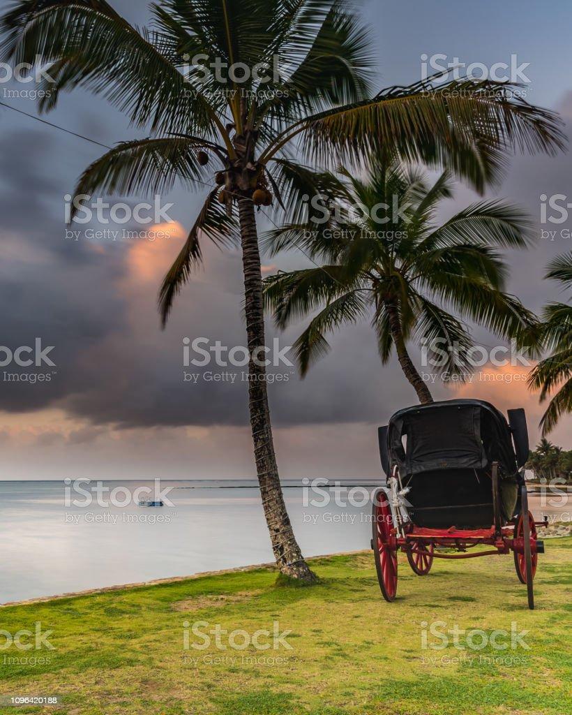 Tropical Island Holiday Sunrise Seascape with Carriage stock photo