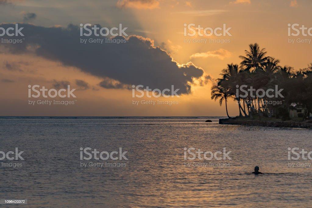 Tropical Island Holiday Sunset Seascape stock photo