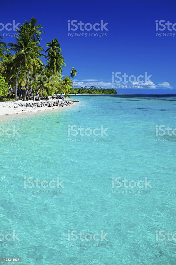 Tropical island in Fiji with sandy beach stock photo