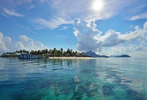 Tropical island in Sabah Borneo stock photo