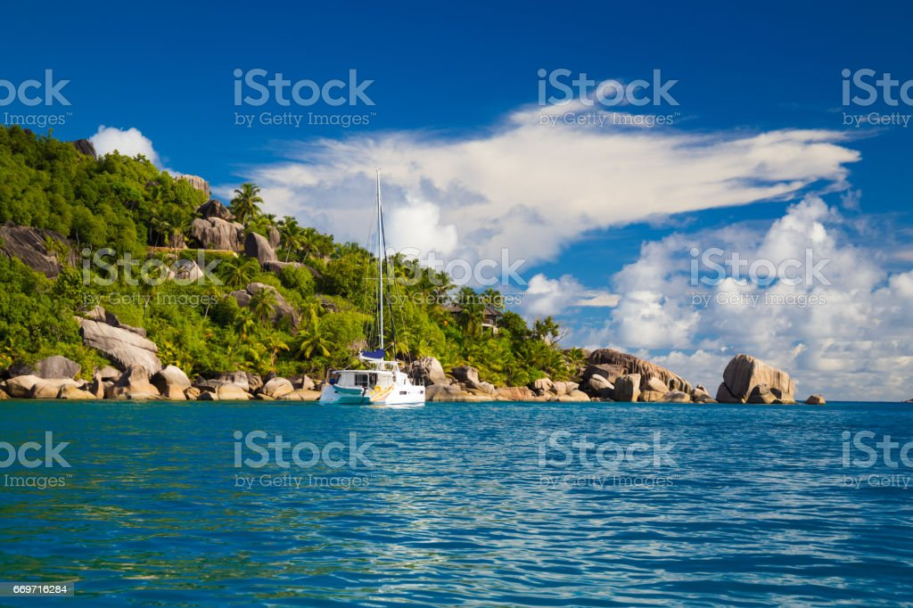 Tropical island of Felicite, Seychelles stock photo