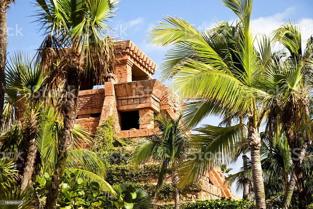 Tropical island palm trees and Mayan temple. royalty-free stock photo