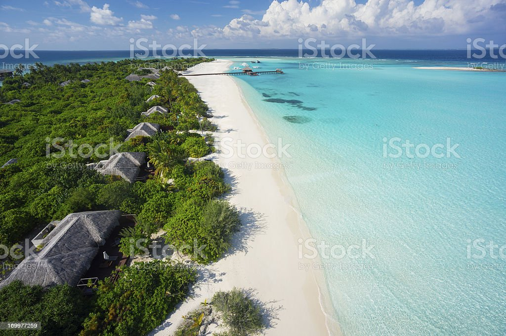 tropical island resort bird's eye view royalty-free stock photo