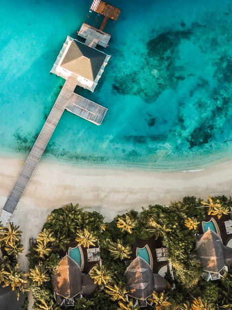 Tropical island resort from above stock photo