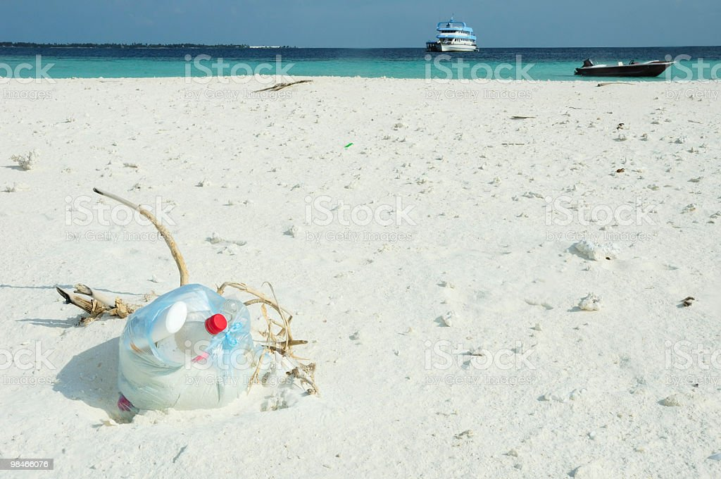 Tropical Island Rubbish royalty-free stock photo