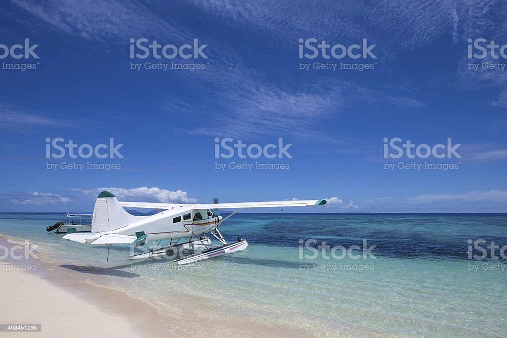 Tropical Island Seaplane stock photo