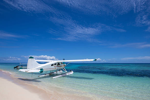Tropical Island Seaplane stock photo