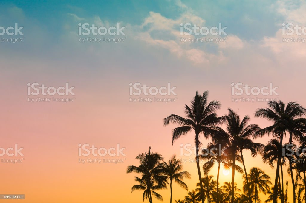 Tropical island sunset stock photo