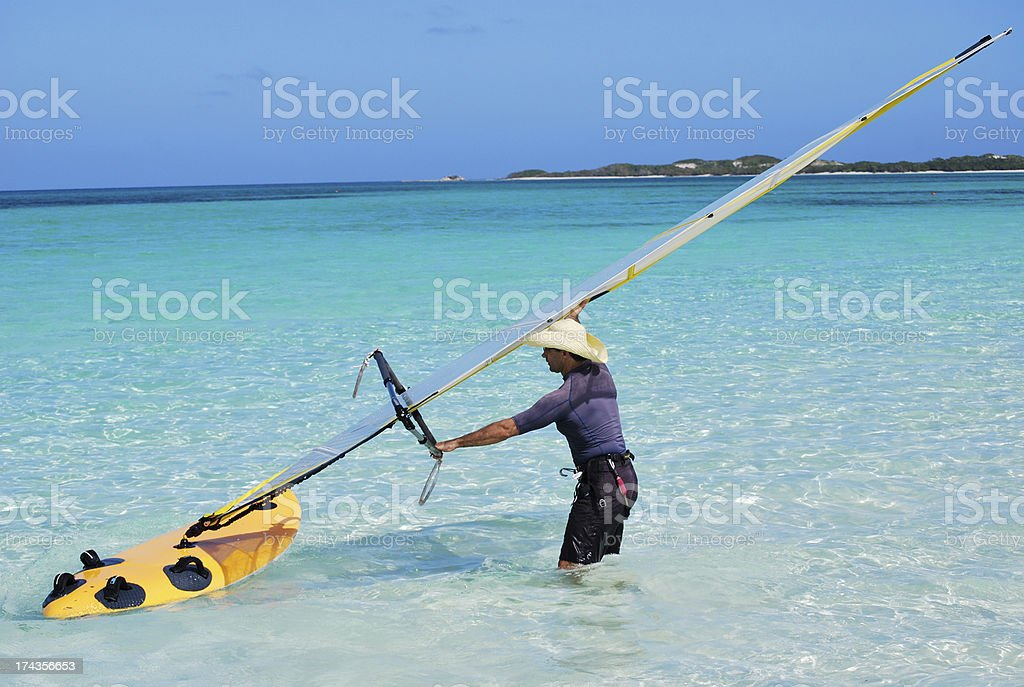 Tropical Island Windsurfing royalty-free stock photo