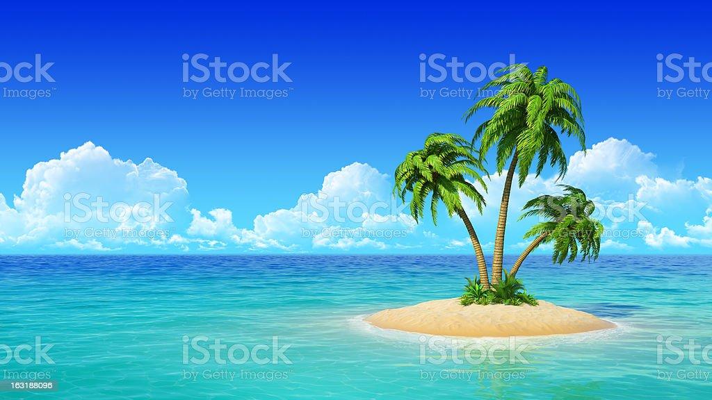 Tropical island with palms. stok fotoğrafı