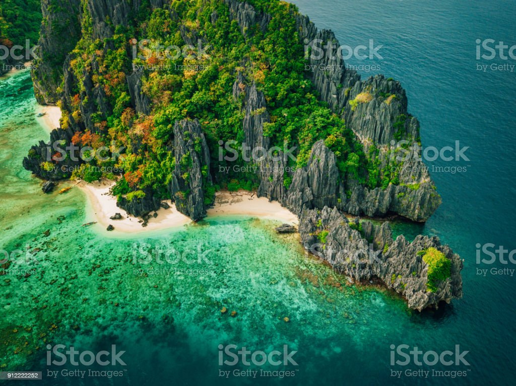 Tropical island with rocks, Palawan, Philippines stock photo