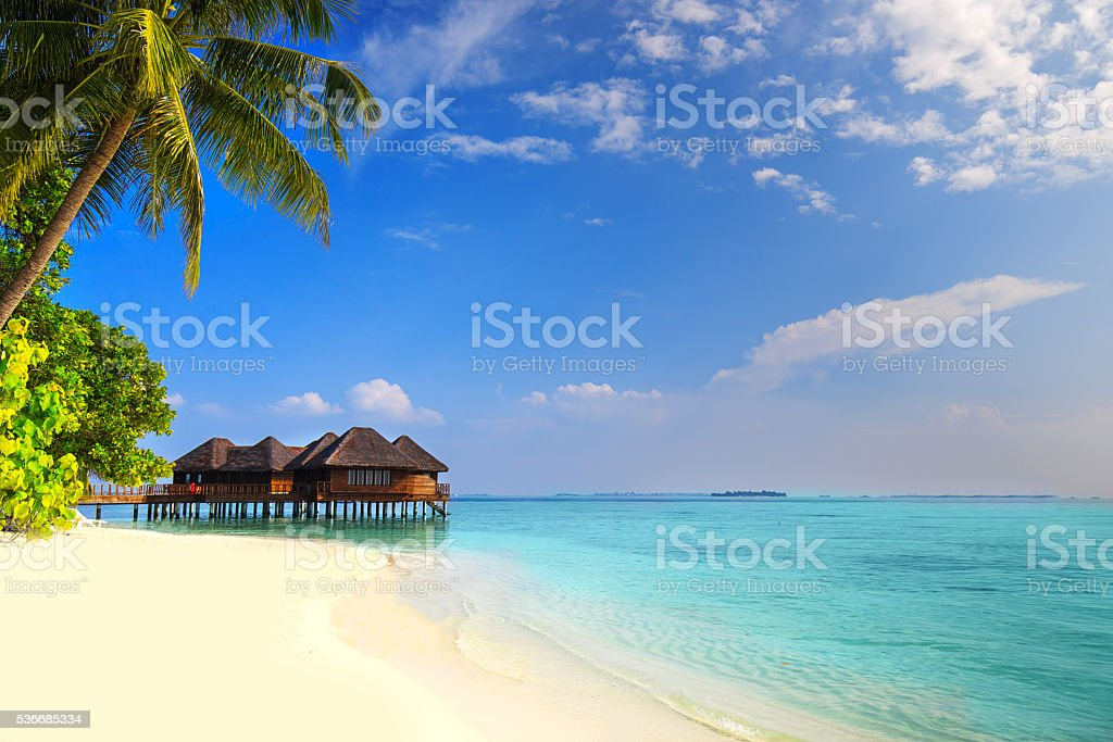Isla Tropical con playa arenosa, palmeras y bungalow sobre el agua - foto de stock