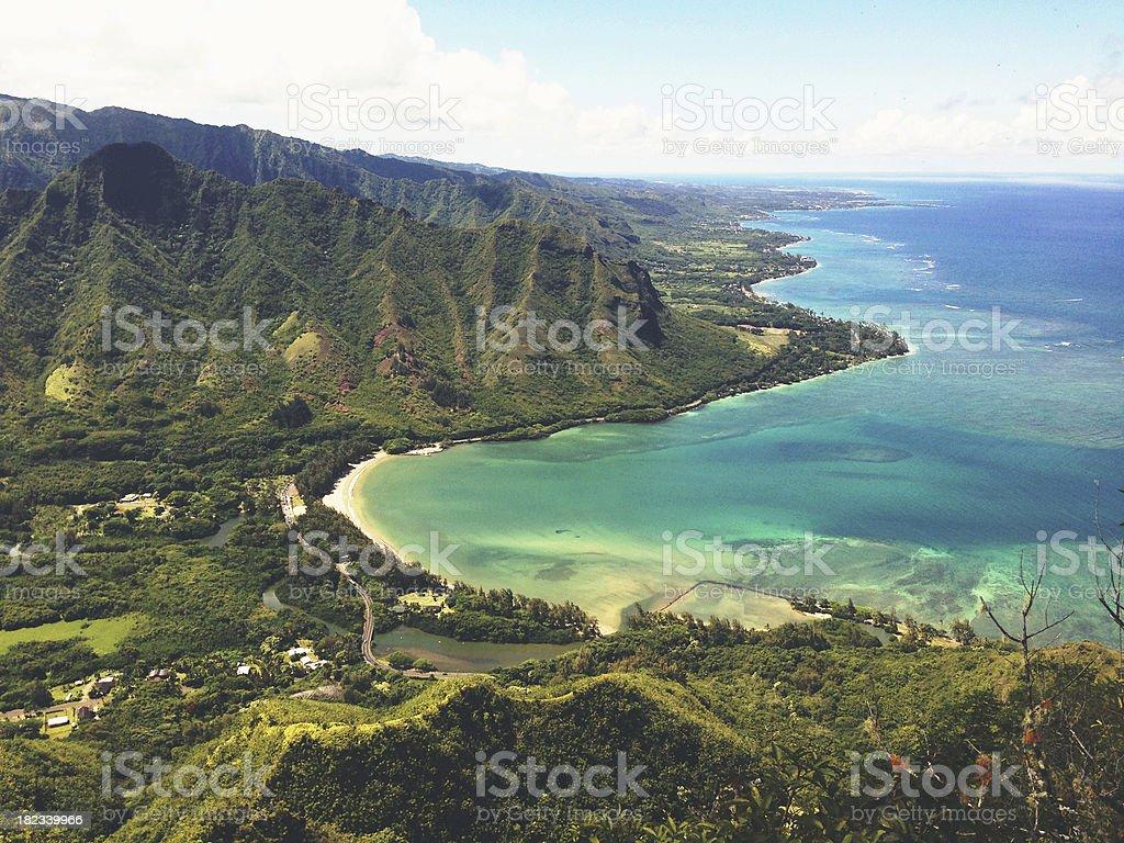 Tropical Kahana Bay Landscape View Hawaii stock photo