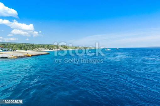 Tropical lagoon of Sumilon island, Philippines. Landscape with azure crystal clear water.