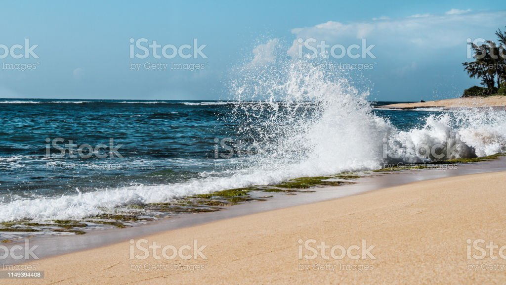 Tropical landscape at the beach in Hawaii, summer vacation concept stock photo