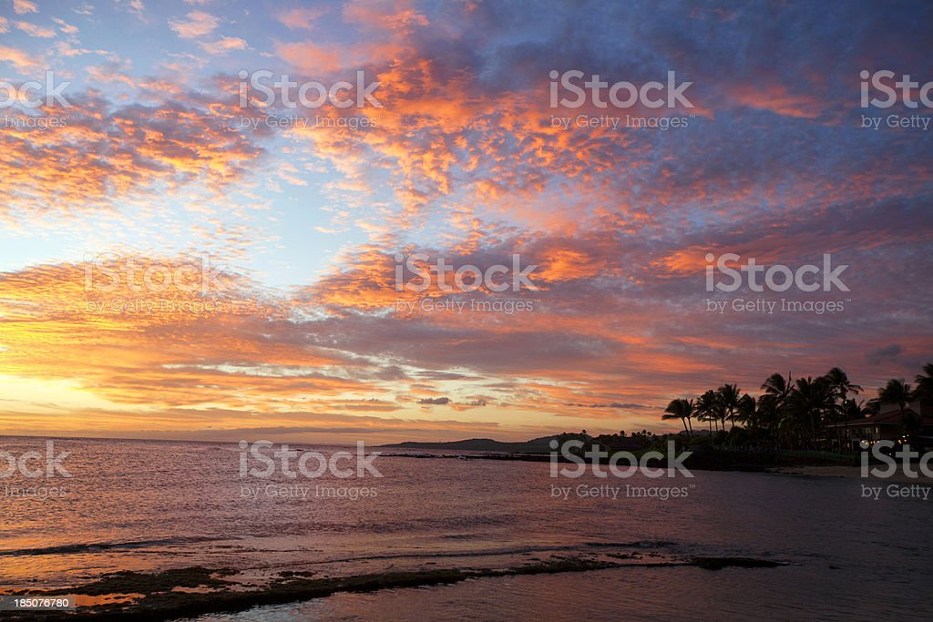 Tropical Landscape: Brillant sunset in Kauai royalty-free stock photo