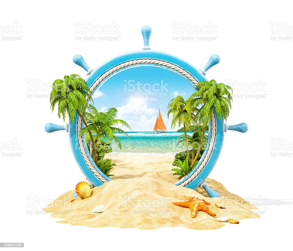 Tropical landscape in a helm stock photo
