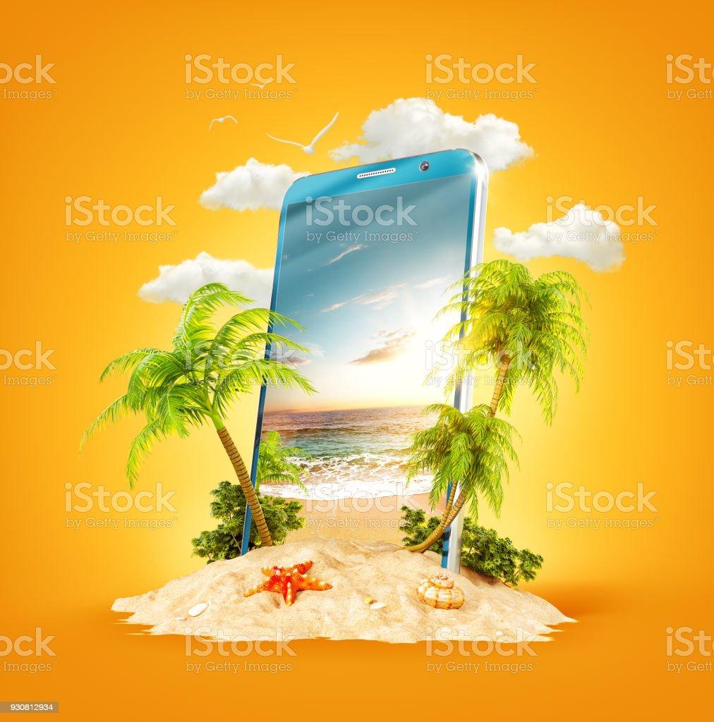 Tropische Landschaft auf dem Bildschirm des Smartphones – Foto