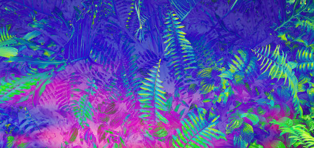 Tropical leaf forest glow in the black light background. High contrast. Tropical leaf forest glow in the black light background. High contrast. acid stock pictures, royalty-free photos & images