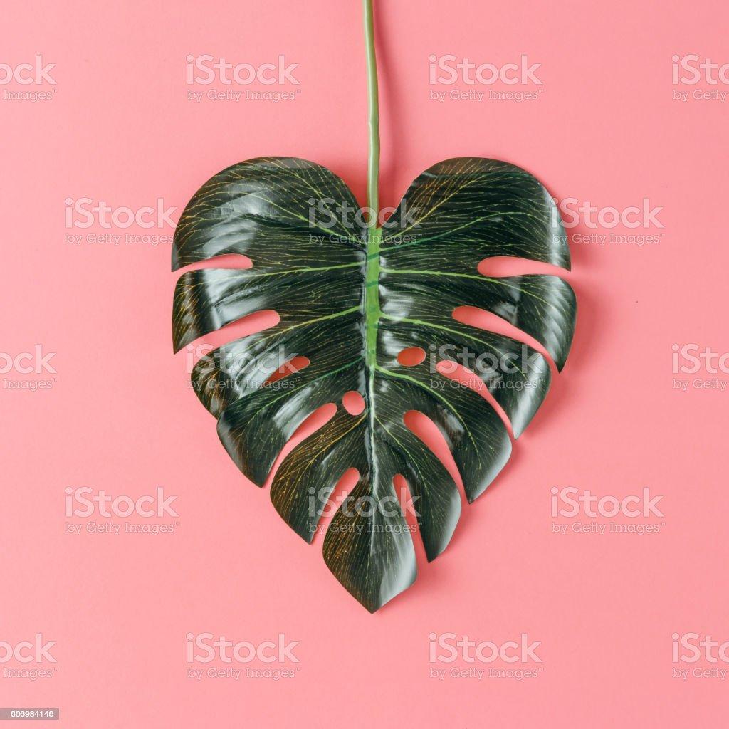 Tropisches Blatt in Form eines Herzens. Mütter Tag Liebe Konzept. Flach zu legen. – Foto