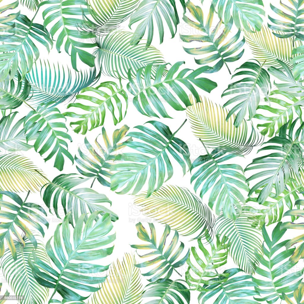 Tropical leaves seamless pattern of Monstera philodendron and palm leaves in light green-yellow color tone, tropical background. stock photo